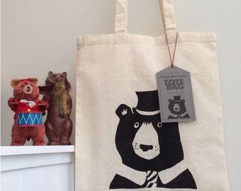 Stylish Bear Screenprinted Tote Bag