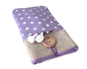 Padded Case iPhone SE Stars, Fabric iPhone 6s Plus Sleeve case, iPhone 5S Pouch,  iPod Touch 6g pouch - Purple stars pockets