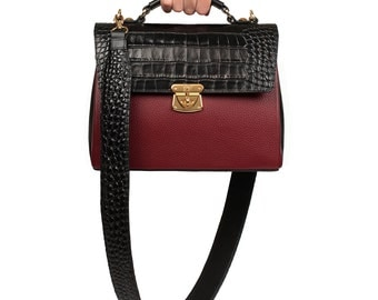 Leather Top Handle Bag, Marsala Leather Handbag Top Handle, Women's Leather Bag KF-716