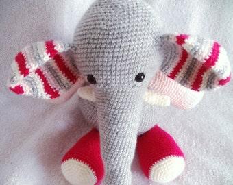 elephant, crochet elephant,amigurumi elephant, elephant softie,elephant toy, strippy elephant, strippy friends