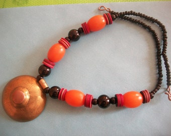 Indian  beads         &           pendant necklace