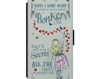 Alice in Wonderland iPhone Samsung Leather Wallet Flip Case Cover Alice Bonkers Hearts in pastel colours