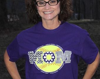 """Purple """"Softball Mom"""" T-Shirt"""