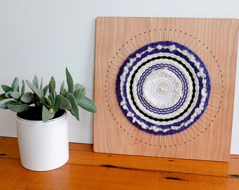 Circular Weaving, Woven Wall Hanging in Blue, Black and White Wool, 12 inch by 12 inch