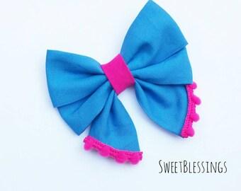 Cobalt blue/hot pink pom pom bow