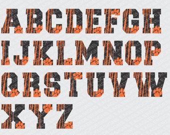 Tigers| Alphabet| SVG| DXF| EPS| Cut File| Tiger Stripped| Paw| Silhouette| Cricut| Vector File| Instant Download