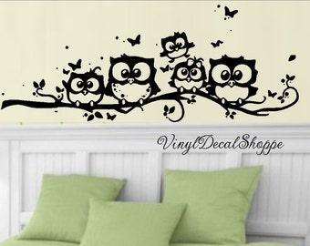 Owl Nursery Decal, Owl Decal, Owl Branch, Bedroom Wall Decal, Owl Wall Decal, Owl Theme Decoration, Owl Theme Nursery, Owls on Branch,