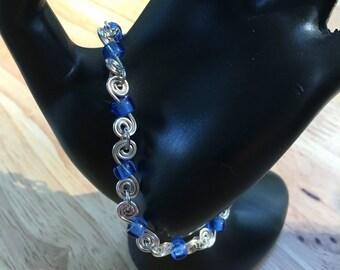 Simple S Swirl Blue Beaded Bracelet