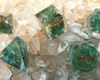 5 Piece ORGONE GREEN AVENTURINE Platonic Solids Crystal Set with Pouch, Sacred Geometry, Reiki Set