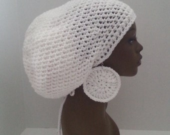 White Crochet Tam with Drawstring and Earrings, Large White Rasta Tam, White Dreadlock Tam and Earrings MADE TO ORDER