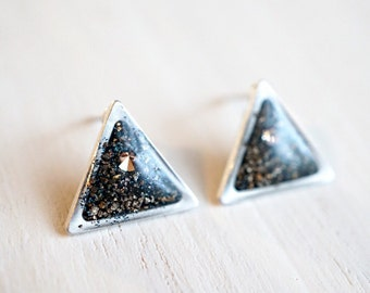 Triangle earrings, galaxy earrings, geometric stud earrings, triangle jewelry, blue crystal earrings