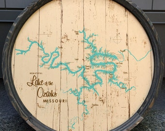 Lake of the Ozarks Map Barrel End *with mile markers*