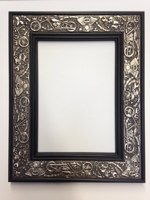 Harley Davidson Motorcycle Picture Frame Silver And Black