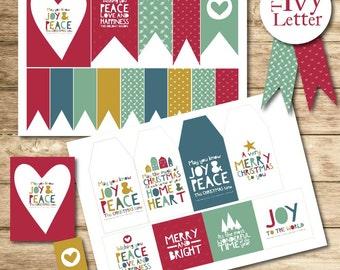 50+ Christmas Printable Tags and Paper Chain Garland Holiday Printable DIY Christmas Gift Tags Garland