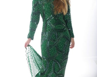 Judith Ann Creations Neiman Marcus Sequined Beaded Jeweled Mermaid Jade Gown