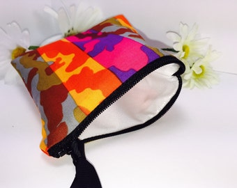 Personal Size Wet Bag, Small Waterproof Pouch, Bright Orange, Reusable Feminine Products, Small Zipper Pouch, PUL, Quick Dry Design