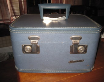 Vintage blue Monarch Train case suitcase