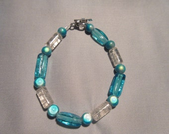 Turquoise Glass Beaded Bracelet with Miracle Beads