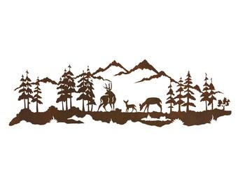 """Rustic Deer Family Steel Wall Art 42""""x 12"""""""