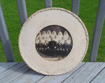 Antique gesso frame with communion photo