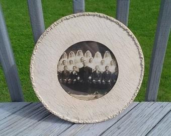 SALE Antique gesso frame with communion photo
