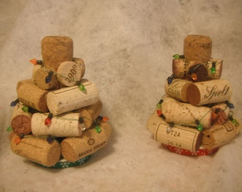 Wine cork Christmas Trees