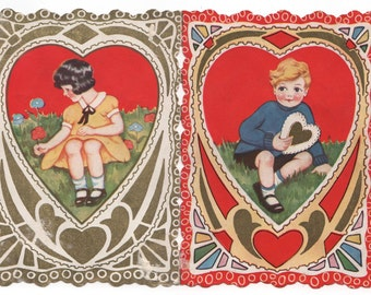 Vintage Valentine Card - Double Sided Boy & Girl 1920's