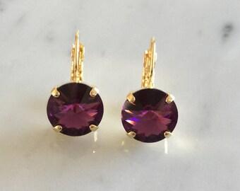 Swarovski Amethyst Earrings, Amethyst Crystal Earrings, Amethyst Crystal Gold Earrings, February Birthstone Earrings