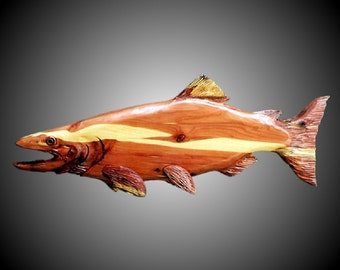 Salmon Wall Sculpture-hand carved in Tennessee Red Cedar wood