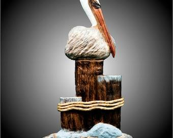Three Pier Pelican Wall Sculpture