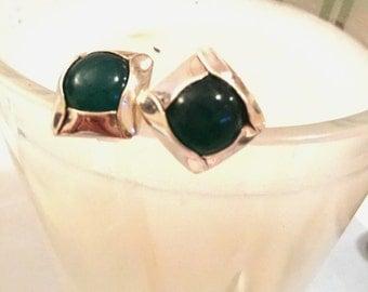 Green Onyx Posts Earrings Green Onyx Studs Chalcedony Earrings August Birthstone Jewelry 925 Sterling Silver Gemstone Green Gemstone Artisan