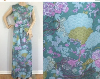 50% OFF Feb 9 - 11 Vintage 70s dress, blue purple & green, floral dress, flower dress, maxi dress, floor length dress, sleeveless dress, lar