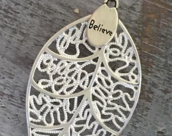 925 Silver LEAF BELIEVE Pendant Necklace