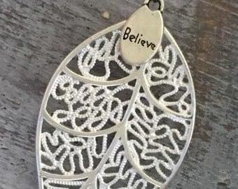 925 Silver LEAF BELIEVE Pendant Necklace
