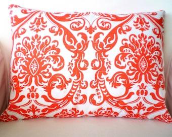 READY TO SHIP Orange Damask Pillow Covers, Decorative Throw Pillows, Cushions, Orange White One 12 x 16