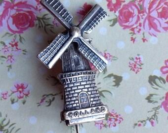 Silver Pewter Brooch Holland Windmill Vintage Brooch Dutch Brooch Dutch Windmill