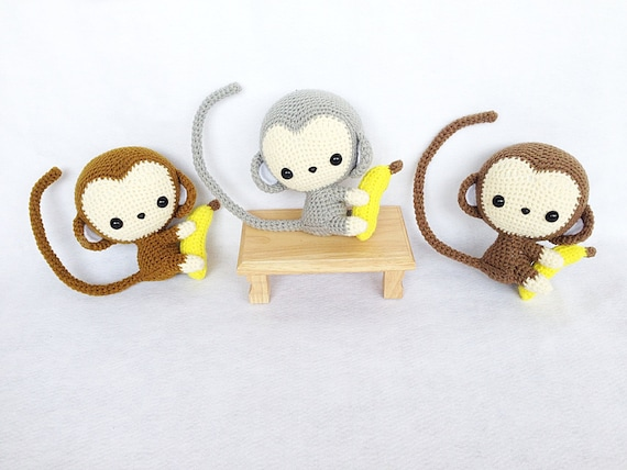 Kawaii Monkey Amigurumi : Kawaii Monkey Amigurumi Nursery decor Monkey amigurumi