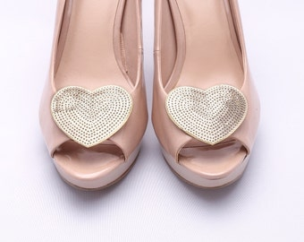 shoe clips gold sequin hearts Wild at Heart