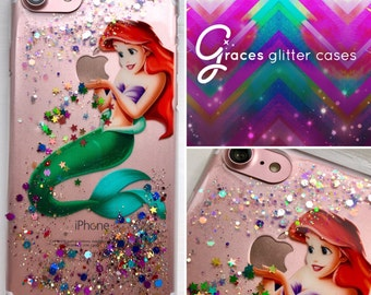 Ariel - Disney Glitter Case - the Little Mermaid iPhone 7 6 plus 6s 6 SE 5s 5c 5 4s 4 Samsung S3 S4 S5 S6 S6 edge S7 s7 edge disney iphone