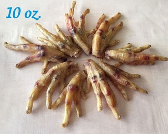 10 Ounces Yummy Chicken Feet - Dehydrated • All Natural •  Hickory Smoked • Yummy Dog Chews • Daphne's Dawggie Delights