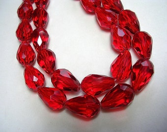 Faceted Red Teardrops Sparkly Glass Red 15 X 10mm 25 Beads Teardrop Beads Angel Sparkling Red Crystal Drops Dangles Teardrops Jewelry