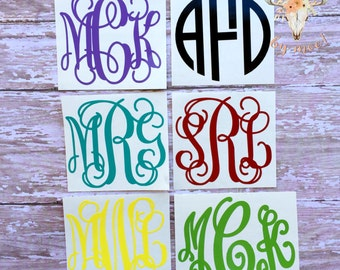 Custom Vinyl Monogram Decal / Vine Monogram / Circle Monogram /  Fancy Circle Monogram / Monogram Car Decal