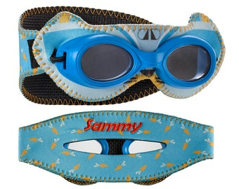 Personalized Giggly Goggles Bunny swim goggles, the most fun and comfortable goggles! personalized with name, initials or team name