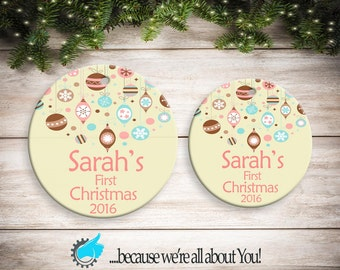 Personalized Pink Baby's First Christmas Ornament, Customized Christmas Ornament, Stocking Suffers, Great Gift!