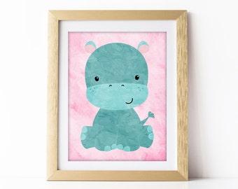 Hippo Nursery, Hippo Art, Hippo Baby, Animal Nursery Art, Girl Nursery Art, Animal Nursery Prints, Animal Nursery Decor, Nursery Wall Art