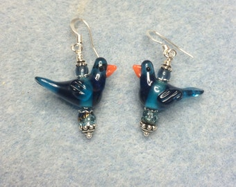 Montana blue lampwork songbird dangle earrings adorned with blue Czech glass beads.