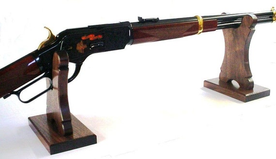 Walnut Wooden Gun Rack Stand Table Top Mantel Display Rifle