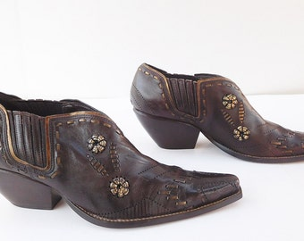 BCB Girls Ankle Brown cowboy  Boots Western Pointy Toe shoes size 10
