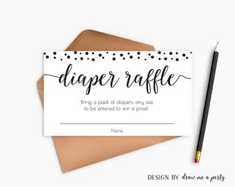 Black and White Baby Shower , Black and white Diaper Raffle Tickets , Black Polka Dots Baby Shower , Invitation Insert , Printable