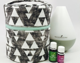 Essential Oil Diffuser Case for travel and storage with interior pockets for your oils!
